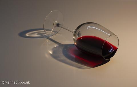 Knocked over wine glass